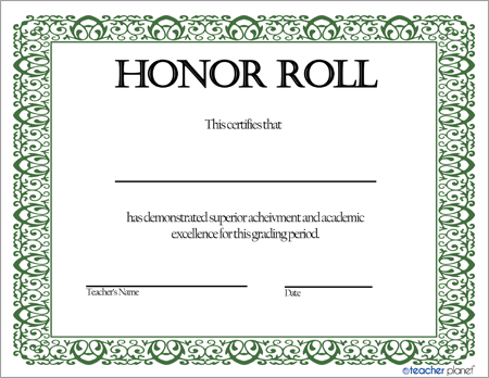 Honor roll certificate 2 for A b honor roll certificate template