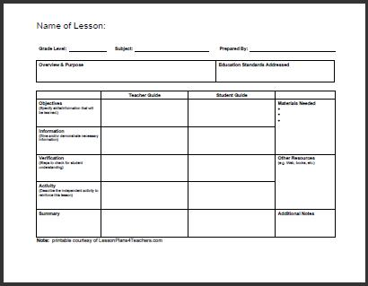 Lesson Plan Forms  BesikEightyCo