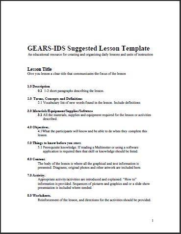 pre kindergarten lesson plan template